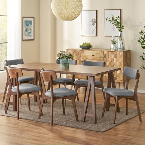 Chazz Mid-Century Modern 7 Piece Dining Set with A-Frame Table by Christopher Knight Home