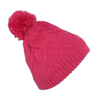 Broner Girls' Diamond Pattern Cable Knit Beanie Hat with Pom