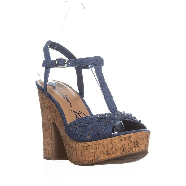AR35 Jamie1 Casual Platform Sandals, Denim Flowers Cork - 11 us
