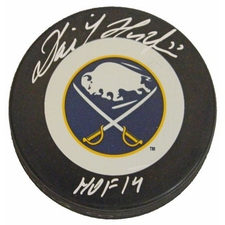 Dominik Hasek Signed Buffalo Sabres Logo Hockey Puck w/HOF'14