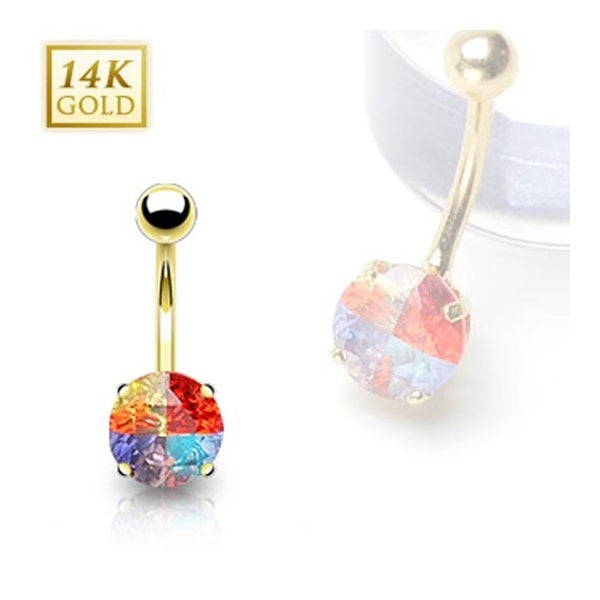 14 Karat Solid Yellow Gold Multi-Colored 8mm Round Prong-Set Miracle Gem Navel Belly Button Ring