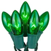 Wintergreen Lighting 67250 25 C9 7W Holiday Bulbs on Green Wire
