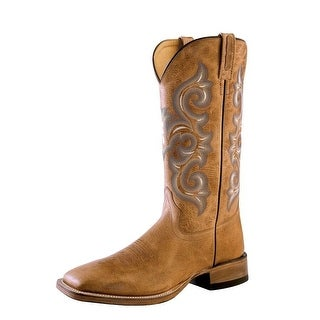 Old West Cowboy Boots Mens Square Toe Stitching Tan Fry