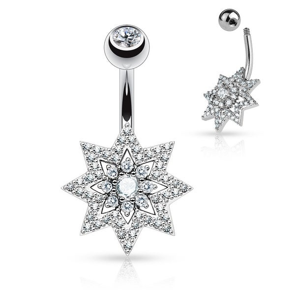 """Micro Pave CZ Sunburst with Double Tier CZ Surgical Steel Navel Ring-14GA-3/8"""" Length (Sold Ind.)"""