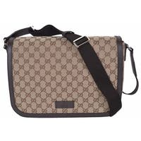 "Gucci 449171 9886 GG Guccissima Canvas Large Crossbody Messenger Bag Purse - 13"" x 9.5"" x 4"""