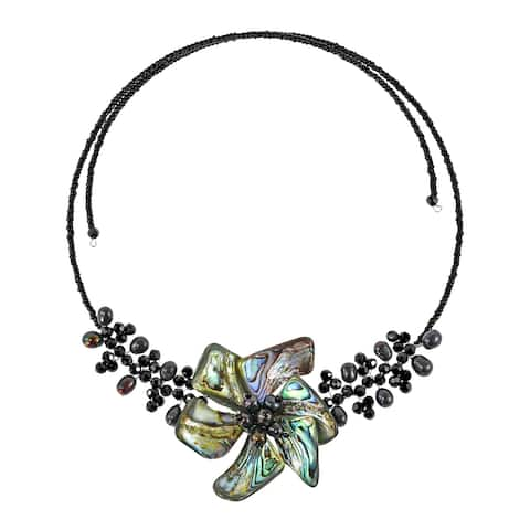 Handmade Unique Natural Rainbow Abalone Shell and Crystal Floral Choker Wrap Necklace (Thailand)