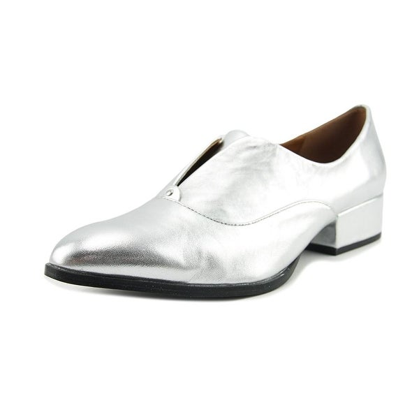 H by Halston Selina Women Round Toe Leather Silver Oxford