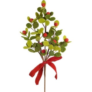 Pack of 12 Decorative Sparkling Green and Red Mistletoe Sprays with a bow