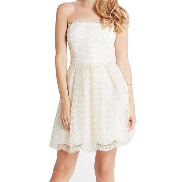 Shop BCBG Generation NEW White Ivory Women\'s Size 2 Strapless Lace ...