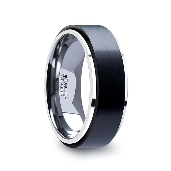 Oakland Tungsten Ring With Raised Brush Finished Black Ceramic Center