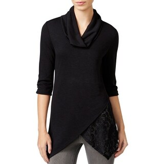 BCX Womens Juniors Casual Top Layered Cowl-Neck