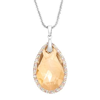 Crystaluxe Large Pendant with Golden Swarovski Crystals in Sterling Silver - Yellow