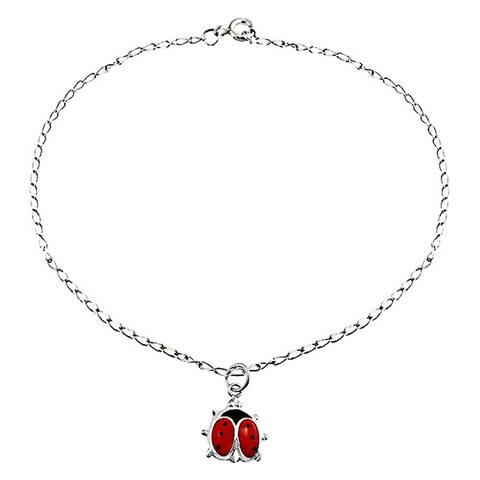 Red Ladybug Garden Dangle Charm Anklet Link Ankle Bracelet 925 Sterling Silver 9 to 10 Inch Extender