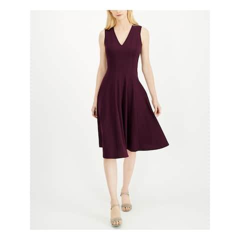 CALVIN KLEIN Purple Sleeveless Below The Knee Dress 4