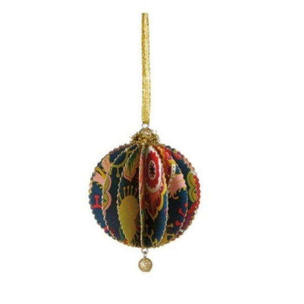 """Bohemian Holiday Deeply Bright Funky Floral Print Gold Glittered Sliced Ball Ornament 4"""""""