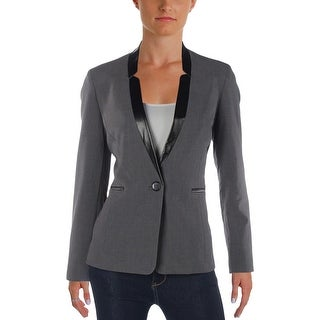 Tahari ASL Womens Petites One-Button Blazer Woven Faux Leather Trim