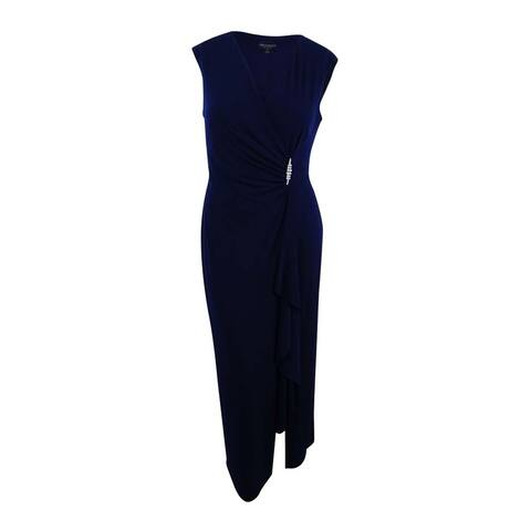 Connected Women's Ruched Faux-Wrap Gown (10, Navy) - Navy - 10