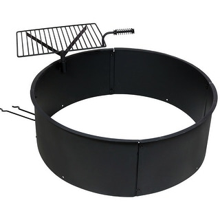 Sunnydaze 36 Inch Diameter Steel Campfire Ring with Rotating Detachable Cooking Grate - Black