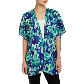 Soprano NEW Blue Green Size XS Junior Floral Cardigan Kimono Sweater