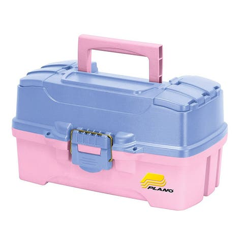 Plano Two-Tray Pink Tackle Box w/Dual cantilever trays Periwinkle/Pink