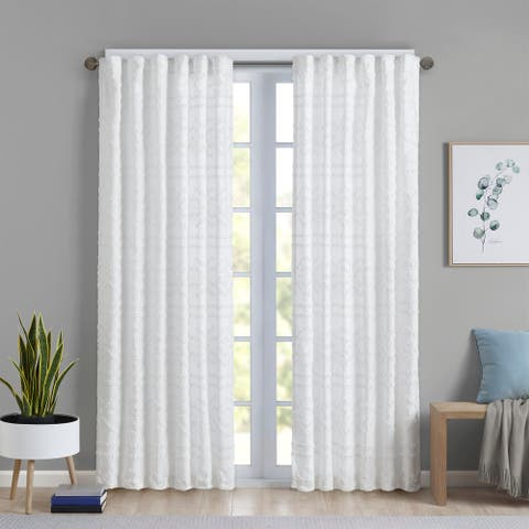 Intelligent Design Whitney Solid Clipped Jacquard Window Single Curtain Panel