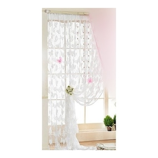 Butterfly Faille Drapery Door String Curtain Wedding - White