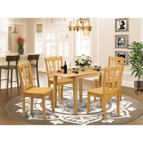 Rectangle Dinette Table and Kitchen Chairs with Wooden Seat (Number of Chairs Option)