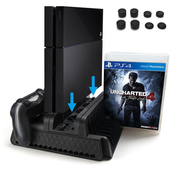 Shop Ps4 Vertical Stand With Cooling Fan Dual Controllers