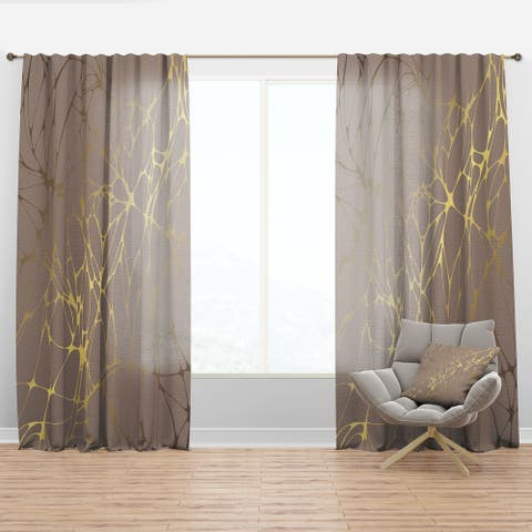 Designart 'Golden Marble Design II' Mid-Century Modern Curtain Panel