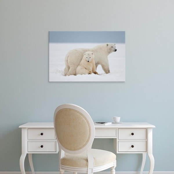 Easy Art Prints Hugh Rose's 'A Female Polar Bear And Her Two Cubs Sit Together On The Ice' Premium Canvas Art