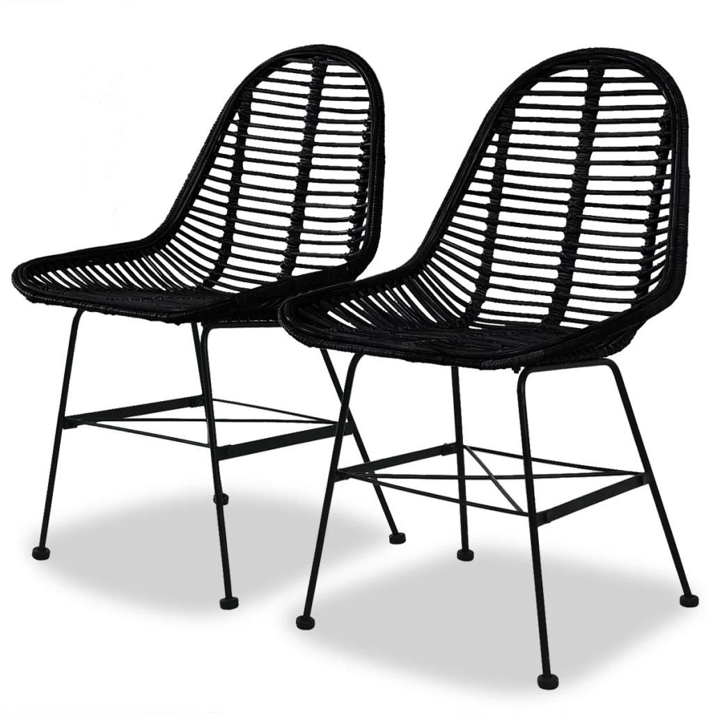 Vidaxl Dining Chairs 2 Pcs Black Natural Rattan Overstock 26434750