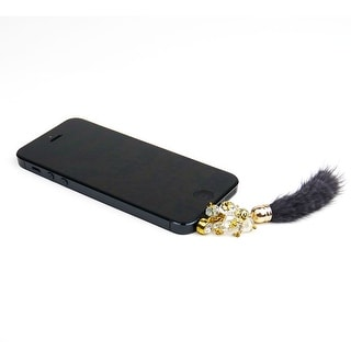 JAVOedge Faux Fur Earphone with Beads Charm for Headphone Jack for Tablet or Smartphone