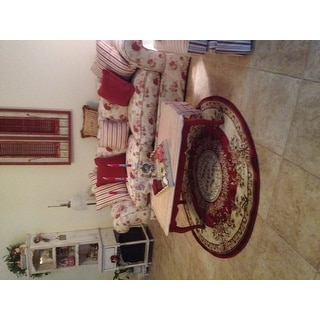 Safavieh Lyndhurst Traditional Oriental Red/ Ivory Rug (5' 3 Round)