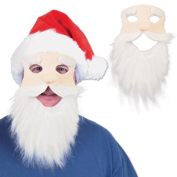Pack of 12 Fuzzy Bearded Face with Red Hat Christmas Santa Masks