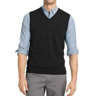 IZOD NEW Solid Deep Black Mens Size Large L Pullover Vest Sweater