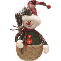"14.5"" Green and Red Plaid Snowman with Broom Table Top Christmas Figure"