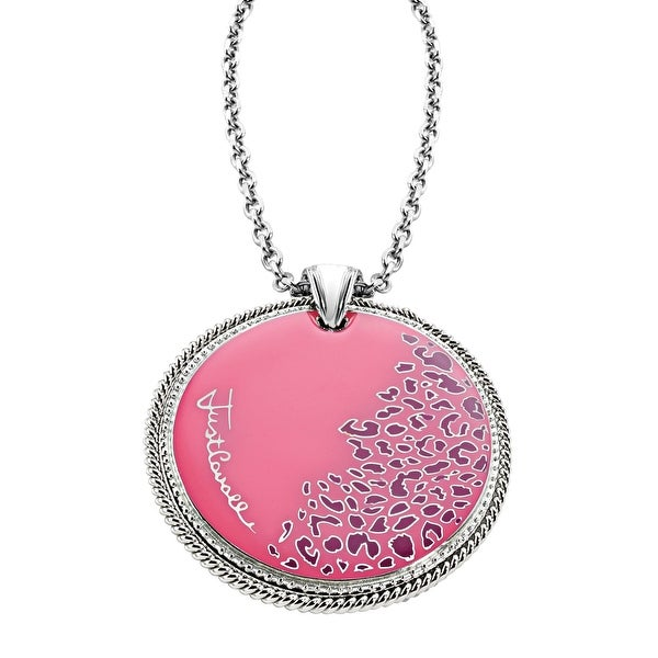 Just Cavalli Pink Leopard Print Pendant in Sterling Silver-Plated Stainless Steel