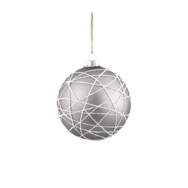 "3.75"" Winter Light Gray with White Glitter Iced Web Glass Ball Christmas Ornament"