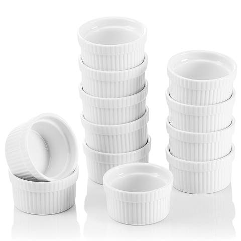 2.75'' White Porcelain Ramekins Souffle Dishes Set of 12