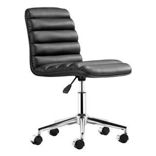 Office Chair Black - Leatherette Chromed Steel