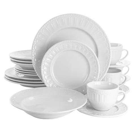 Elama Charlotte 20 Piece Porcelain Dinnerware Set in White