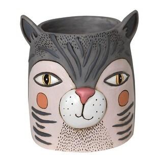 Allen Designs Grey Fat Cat Head Indoor/Outdoor Planter - 6.75 X 5 X 5 inches