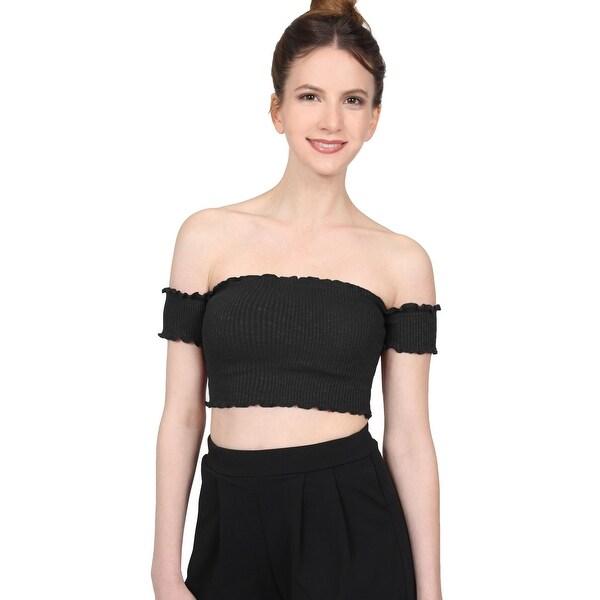 abc1213c18b NE PEOPLE Women's Off Shoulder Short Sleeve Ribbed Shirts Crop Tops