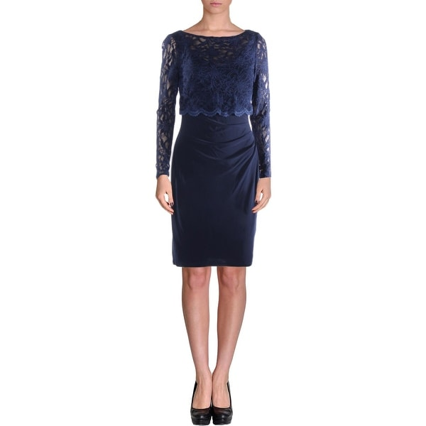 Lauren Ralph Lauren Womens Cocktail Dress Lace Top Long Sleeves