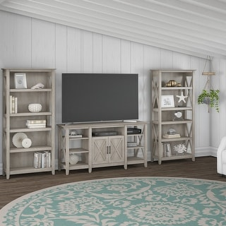 The Gray Barn Tall TV Stand with Set of 2 Bookcases