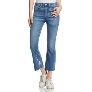 Rag & Bone Womens Cropped Jeans Flare Raw Hem