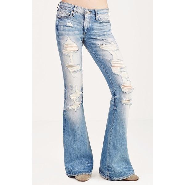 5b98df927dc Shop True Religion NEW Blue Ripped Distressed 25 Bell-Bottom Flare ...