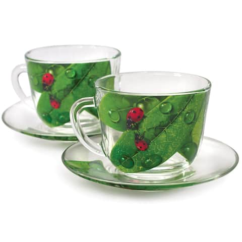 STP-Goods Green Leaf Durable Glass Tea Cup and Saucer Set of 2