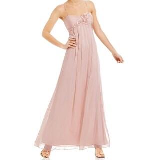 Adrianna Papell NEW Blush Pink Women 4 Floral Empire Waist Maxi Dress