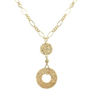 Just Gold Medallion Drop Necklace in 10K Gold - Yellow